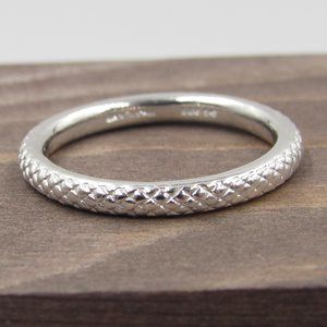 Size 7 Sterling Silver Textured Band Ring Vintage